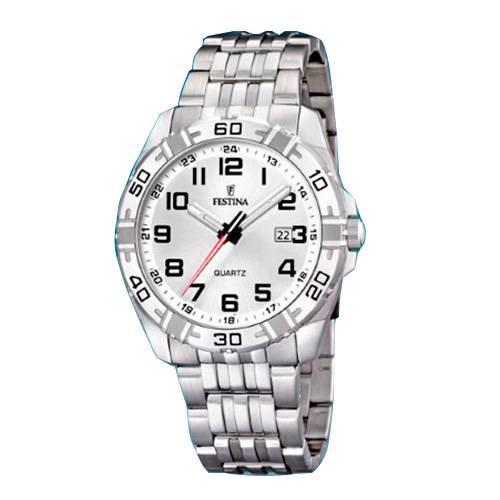Reloj analógico blanco-plateado 95-1