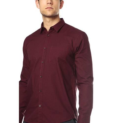 Camisa Manga Larga Color Siete para Hombre -Rojo
