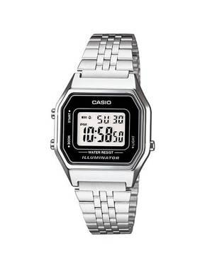 Reloj retro digital gris-negro-plateado A-1D