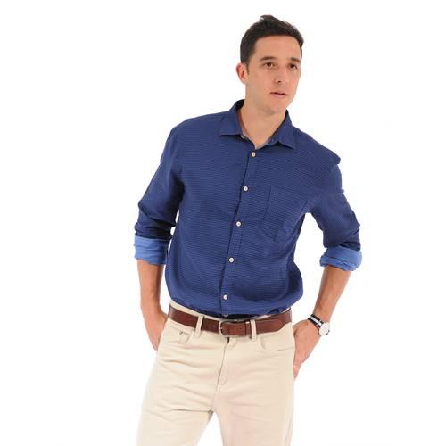 Camisa Manga Larga Crosby Color Siete para Hombre - Azul