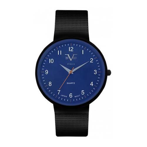 Reloj de pulso análogo azul-negro