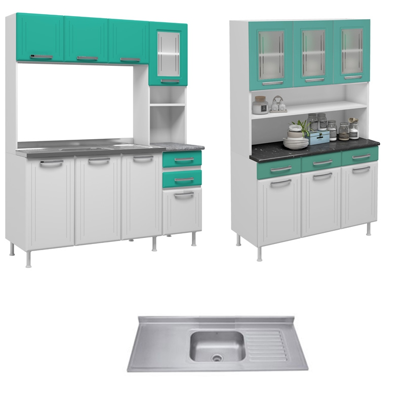 Combo Mueble Metálico Para Cocina Pop + Lavaplatos De 1200 ...