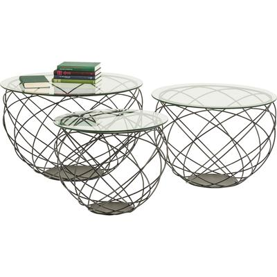 Mesa centro Wire Grid negro (3/Set)