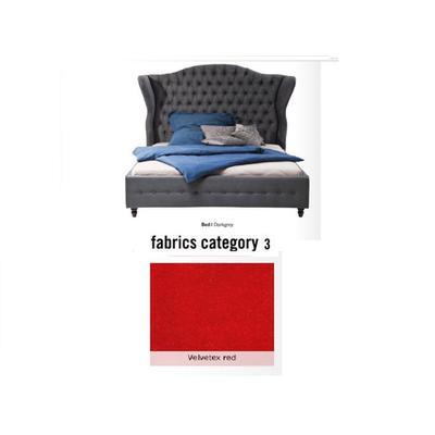 Cama City Spirit, tela 3 - Velvetex Red, (120x156x260cms), 180x200cm (no incluye colchón)
