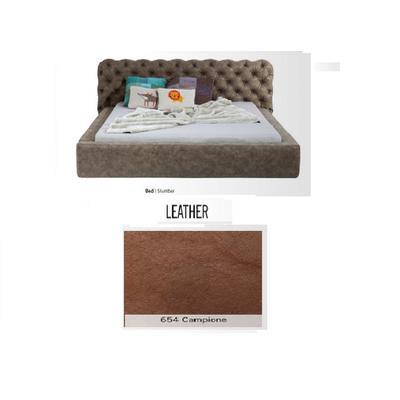Cama Slumber,  cuero 654 Campione,   (82x228x239cms), 180x200cm (no incluye colchón)