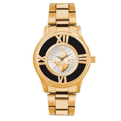 Reloj Sagrado Corazón Pulso Acero Amarillo