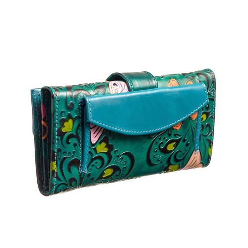 Billetera para Mujer en cuero JB 04 verde x azul