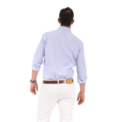 Camisa Manga Larga York Color Siete Para Hombre  - Azul