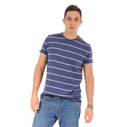Camiseta Cuello Redondo Color Siete para Hombre - Azul