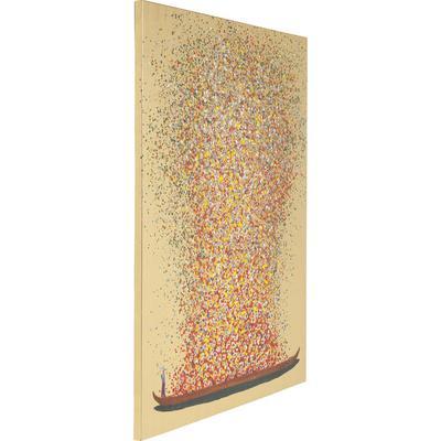 Cuadro Flower Boat oro rojo 100x80cm