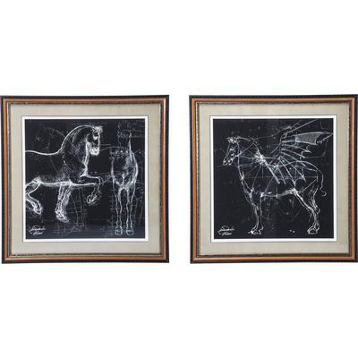 Cuadro con marco Horse Studies 110x110cm - varios