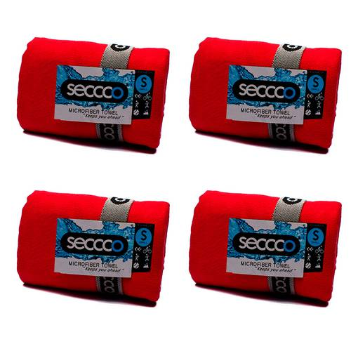 SetX 4 Toallas de Microfibra Rojo S