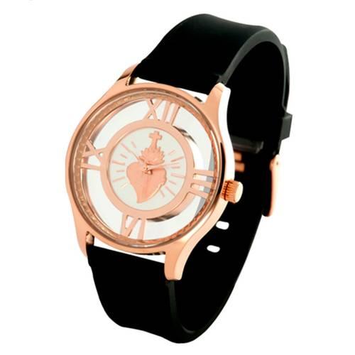 Reloj Sagrado Corazón Pulso Silicona Negro