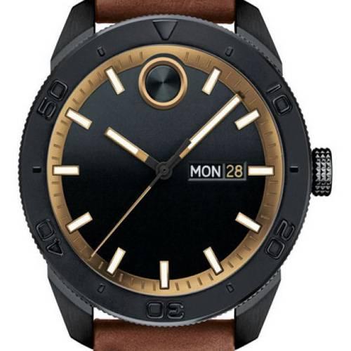 Reloj análogo negro-marrón 0496