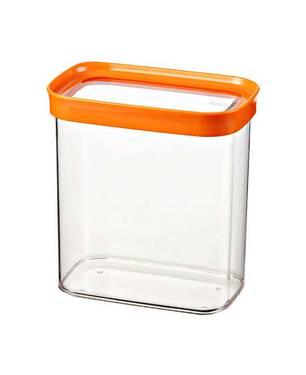 Tarro Acrílico Rectangular 1.70L Transparente Tapa Naranja