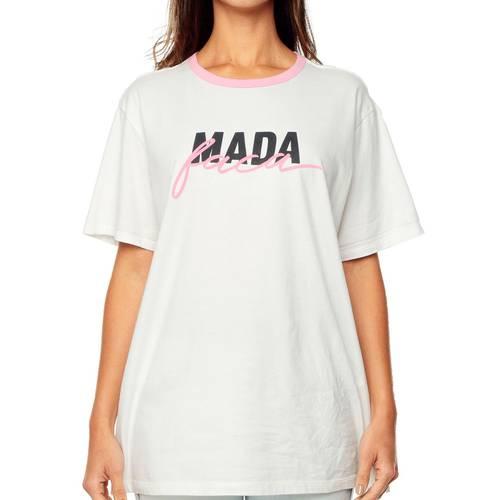 Camiseta Mada Faca Rosé Pistol  - Blanco