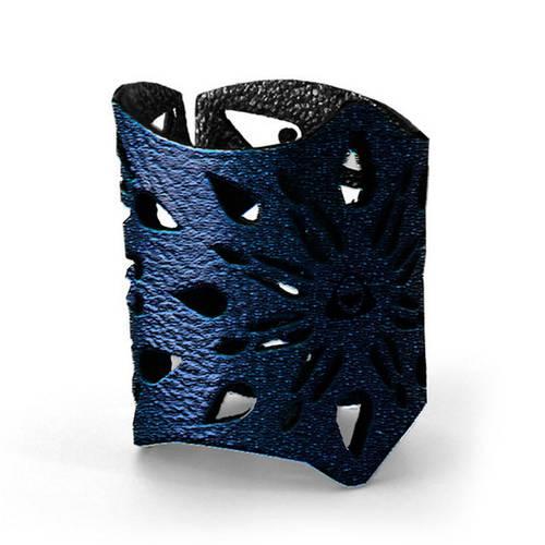 Servilletero para Mesa, Doble Faz Azul Mate Mod Flower 14cm