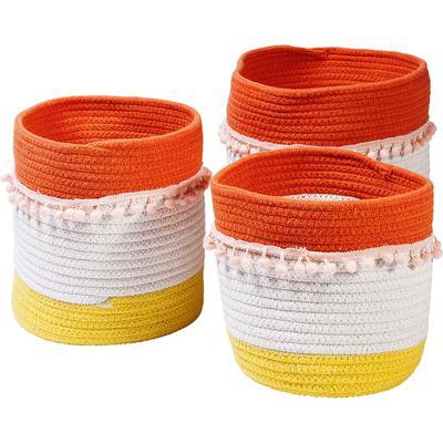 Cesta almacenaje Fringes naranja-blanco (3/Set)