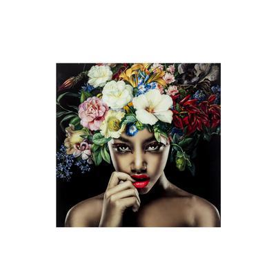 Cuadro cristal Pretty Flower Woman 120x120