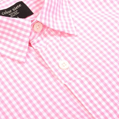 Camisa Cuadros Manga Larga - Rosado