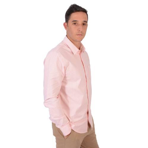 Camisa Manga Larga Color Siete Para Hombre  - Naranja