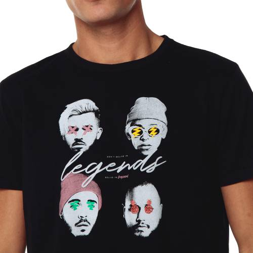 Camiseta Trapical Faces Rosé Pistol  - Negro