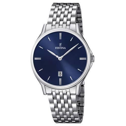 Reloj analógico azul-plateado 44-3