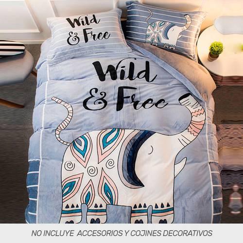 Duvet Digital Franel + Fundas Wild and Free
