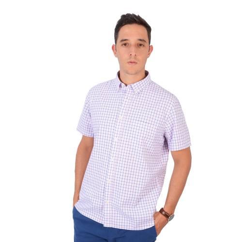 Camisa Manga Corta Color Siete Para Hombre - Rosado