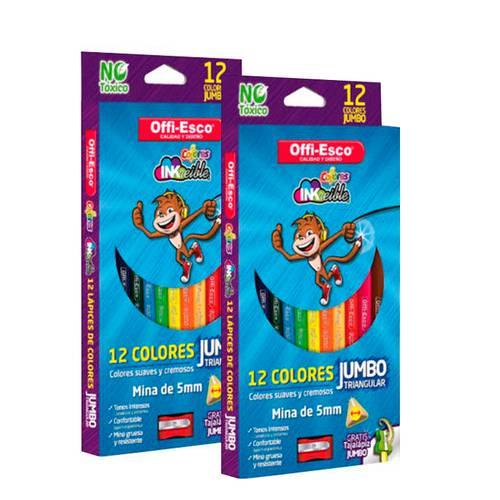 Color Jumbo Triangular X12 - X2 Cajas + Gratis Borrador De Nata