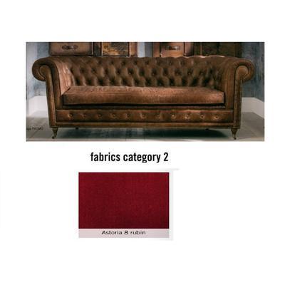 Sofá Cambridge, 3 puestos, tela 2 - Astoria 8 rubin (220x76x92cms)