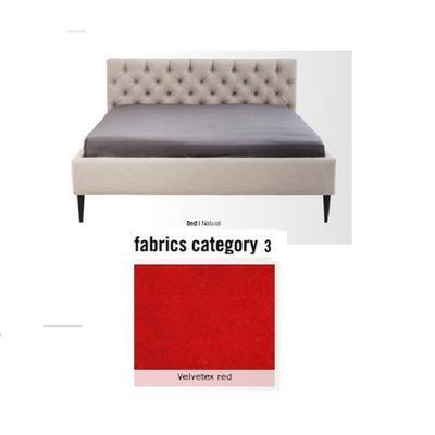 Cama Nova,  tela 3 - Velvetex Red,  (85x180x215cms), 160x200cm (no incluye colchón)