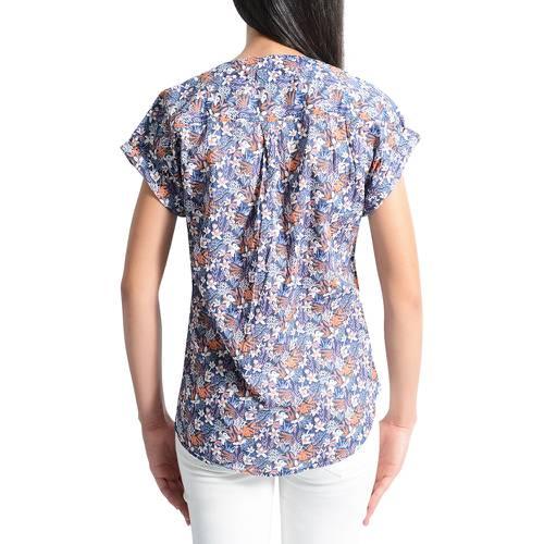 Blusa Manga Corta Estampada Color Siete para Mujer - Azul