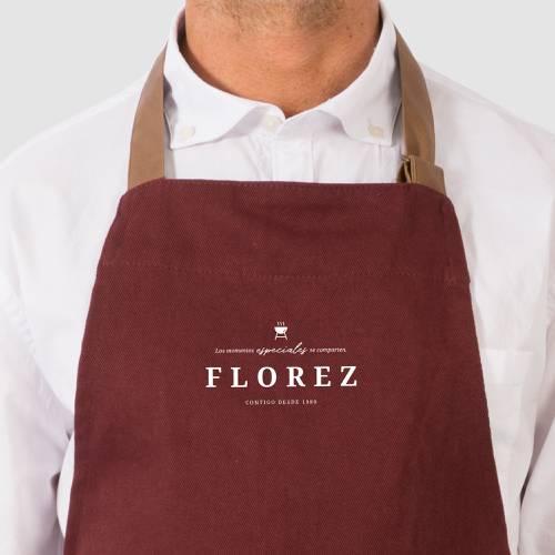 Delantal Color Siete Florez - Vino Tinto