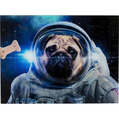 Cuadro cristal Dog in Space 80x60