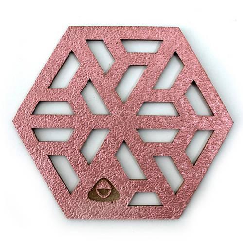 Portavaso para Mesa, Doble Faz Oro Rosa Mod Cubit 11cm