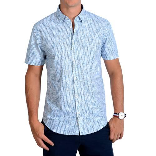 Camisa Manga Corta Murray Color Siete para Hombre - Azul