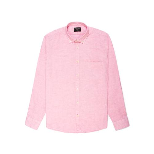 Camisa Leroy Manga Larga Color Siete Para Hombre  - Rojo