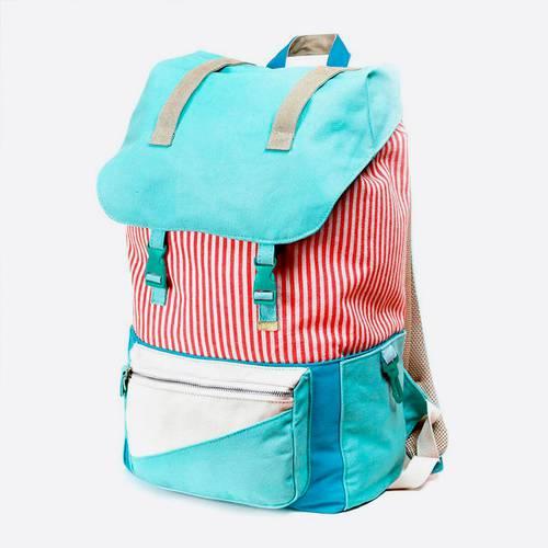 Bolso Grande Backpacker Jade Azul Claro/Rojo