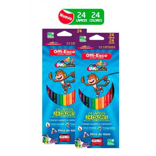 Color Triangular X 24 Colores - X2 Cajas + Borrador Gratis