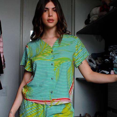 Pijama Pantalón Corto Verde 8778