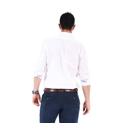 Camisa Manga Larga Color Siete para Hombre-Blanco