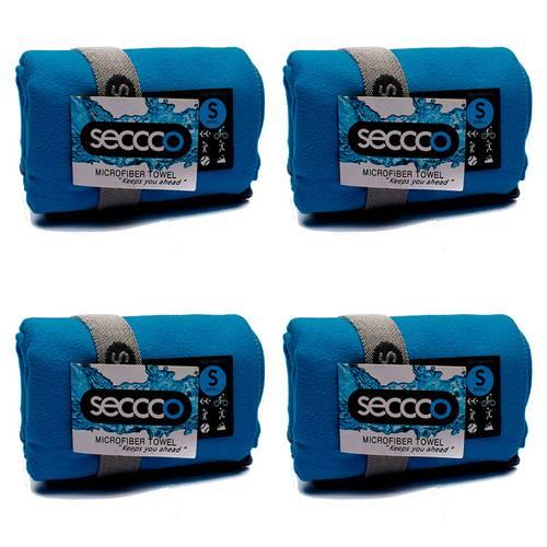 SetX 4 Toallas de Microfibra Azul Claro S