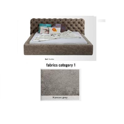 Cama Slumber, tela 1 - Kansas Grey,   (87x208x239cms), 160x200cm (no incluye colchón)
