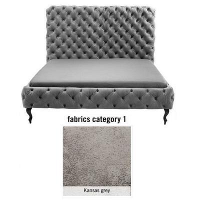 Cama (Alta) Desire, tela 1 - Kansas Grey, (138x177x228cms), 160x200cm (no incluye colchón)