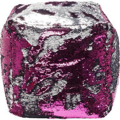 Taburete Disco Queen rosa-plata 45x45cm