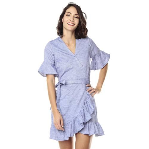 Vestido Con Boleros Para Mujer Color Siete  - Azul