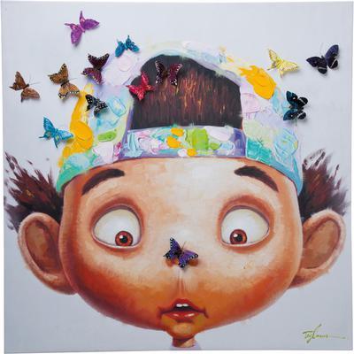 Cuadro Boy with butterflies 100x100 cm