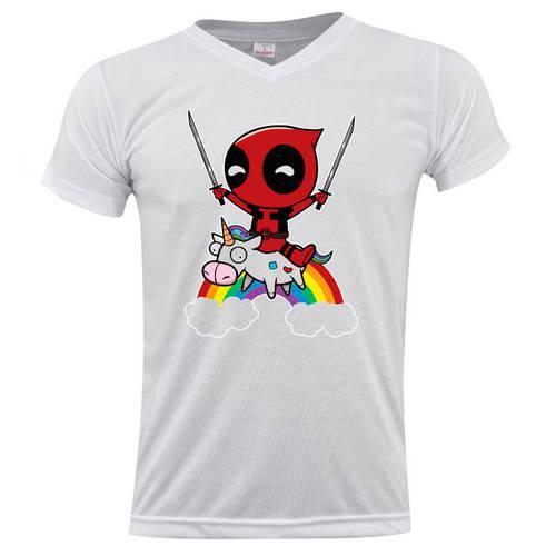 Camiseta Cuello V Deadpool Unicorn 0262 - ART GENERATION