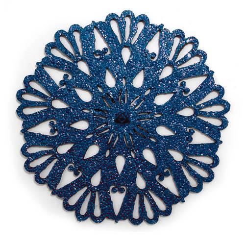 Portavaso para Mesa, Doble Faz Azul Mate y Dorado Mod Flower 10cm